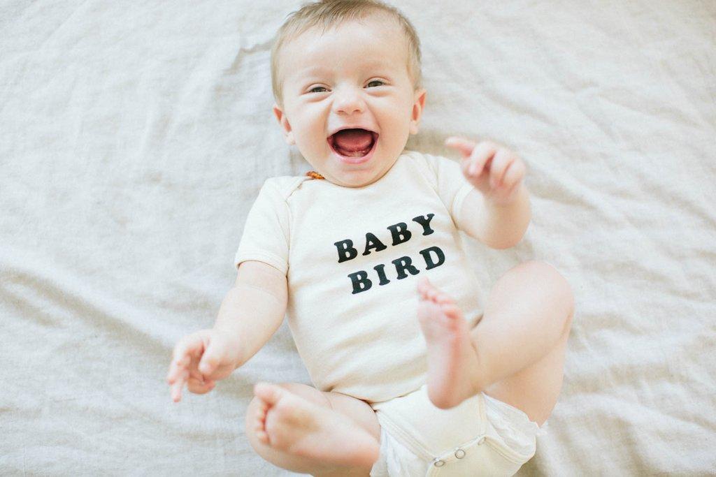 'Baby Bird' Organic Cotton Onesie - Darling Clementine
