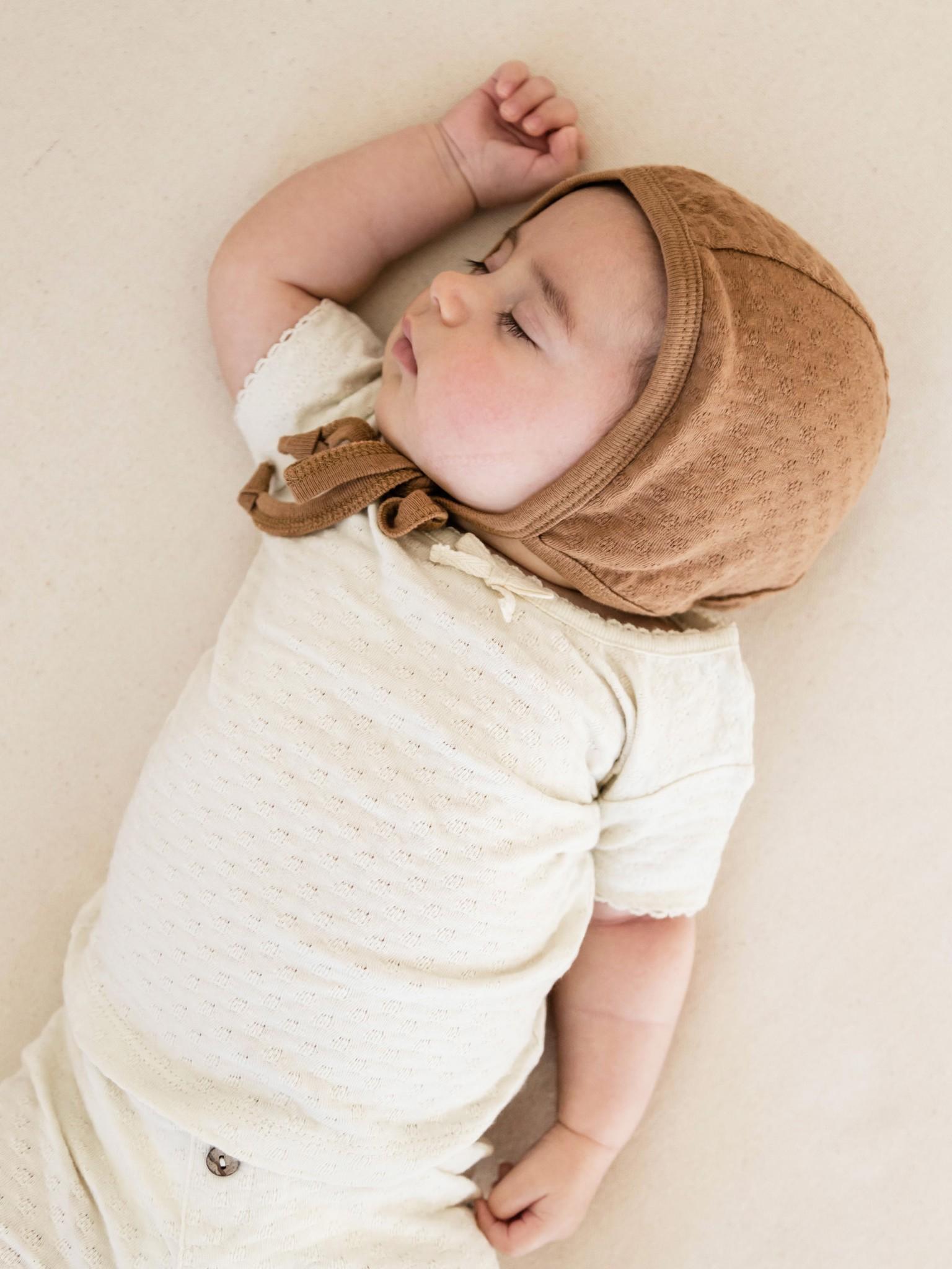 Pointelle Baby Bonnet in Copper
